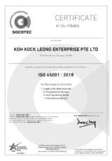 Cert- KOH KOCK LEONG ENTERPRISE PTE LTD ISO 45001 2018_SAC