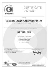 Cert- KOH KOCK LEONG ENTERPRISE PTE LTD QMS ISO 9001 2015_SAC
